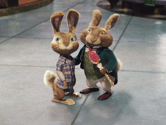 E.B. (left) and his dad, the Easter Bunny, come to