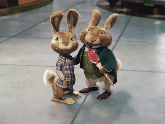"E.B. (left) and his dad, the Easter Bunny, come to terms in ""Hop,"" a blend of live action and animation."