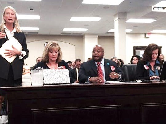 Michelle Kuiper, middle left, Jayann Sepich and James Tillman testifying for DNA at arrest in KY. The same three people who testified here for DNA at arrest law that just passed your Indiana legislative session.