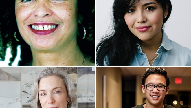 Speakers at Ball State University this fall will include (clockwise from top left) Angela Davis, Julissa Arce, Alex Sheen and Abby Smith Rumsey.