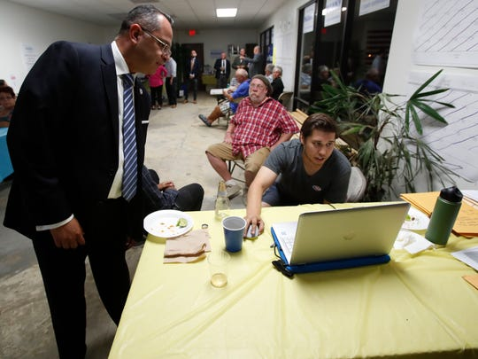 Riverside County Board Supervisor Manuel V. Perez looks over election results with Canvass Director Robbie LaBounty at the supervisors field office in Indio on June 5, 2018