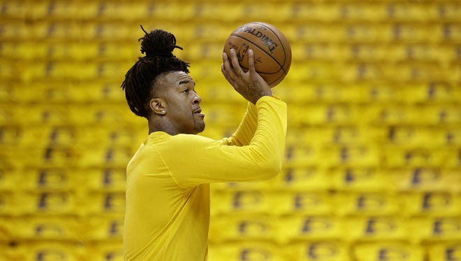 Center Jordan Hill warms up before his Indiana Pacers take on the Toronto Raptors in their Eastern Conference first-round playoff game Thursday, April 21, 2016, at Bankers Life Fieldhouse.