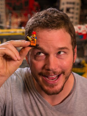 Chris Pratt at Legoland with his 'Lego Movie' character, Emmett, who is believed to be The Chosen One.