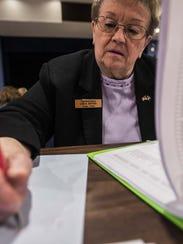 Vermont Rep. Linda K. Myers, R-Essex, goes through