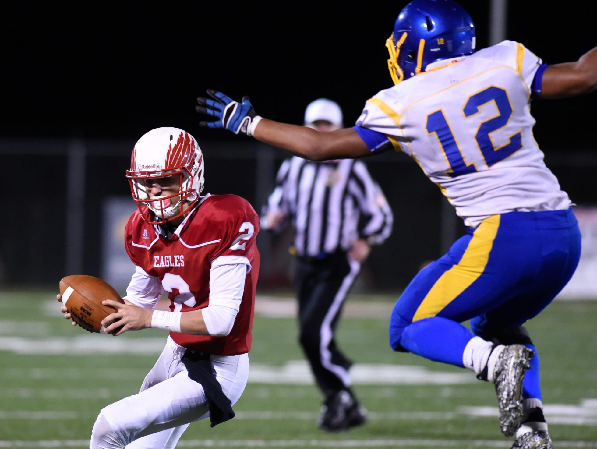 Smyrna quarterback Nolan Henderson (2), shown here against Sussex Central last season, has committed to play college football at the University of Delaware.