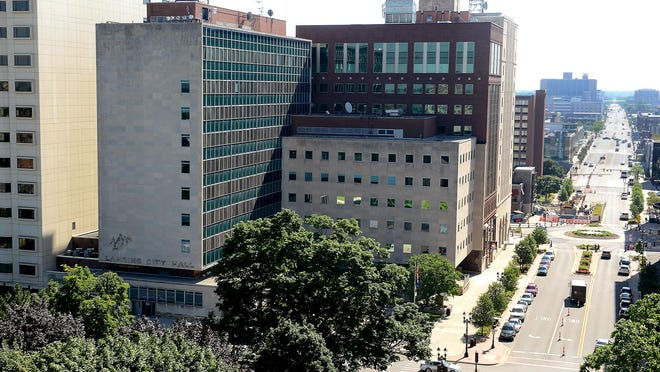 Lansing City Hall seen from the roof of the Capitol, looking east down Michigan Avenue.