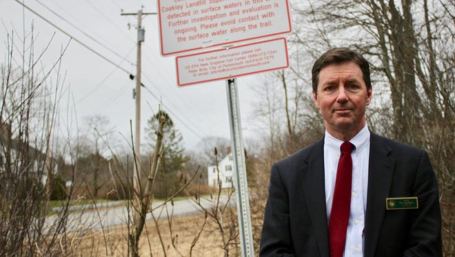 State Sen. Tom Sherman, D-Rye, stands near Berry's Brook in Greenland in April. He said runoff from the nearby Coakley landfill is discharging into the brook, contributing to high concentrations of PFAS in the water.