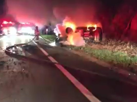 Woman saved from Taconic car fire