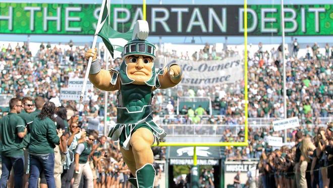 Michigan State Spartans mascot perform prior to a game between the Michigan State Spartans and the Bowling Green Falcons  at Spartan Stadium.