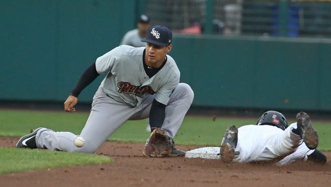 Scranton/WB shortstop Gleyber Torres is just late tagging Rochester's Zack Granite on a stolen base attempt Monday at Frontier Field.