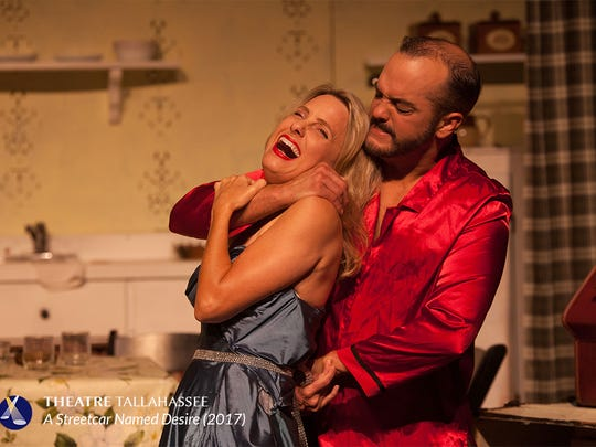 "Ken Catullo as Stanley with Erika Stone as Blanche in Theatre Tallahassee's production of ""A Streetcar Named Desire."""