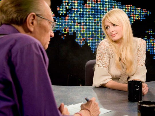 Paris Hilton is seen during the taping of 'Larry King