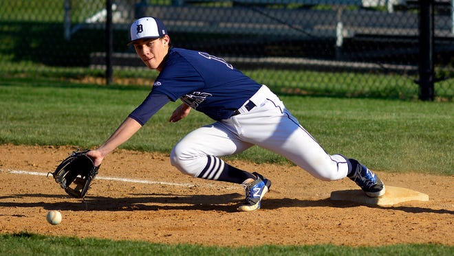Dallastown's Joe Capobianco, seen here in a file photo while playing the field, drove in four runs on Wednesday in the Wildcats' win over South Western.