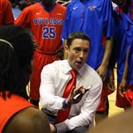 Tech coach Mike White in the Bulldog huddle  Thursday night against UTEP in C-USA action at The TAC in Ruston, La.