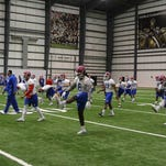 Louisiana Tech Bulldogs hold an afternoon practice on Wednesday afternoon at the New Orleans Saints indoor workout building in Metairie. The Bulldogs and Arkansas State play Saturday night at the Mercedes-Benz Superdome in the R+L Carriers New Orleans Bowl.