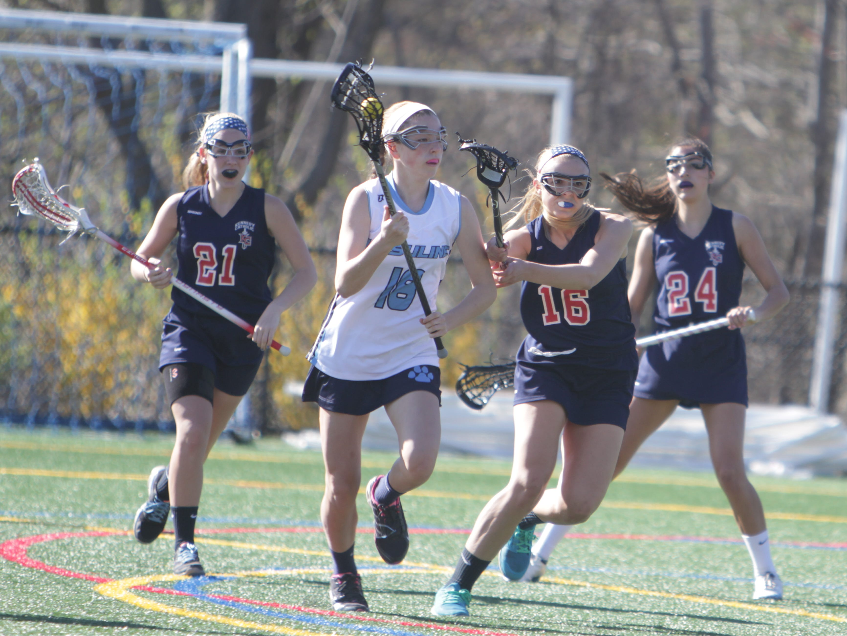 Action during a girls lacrosse game between Ursuline and Kennedy at the Ursuline School on Tuesday, April 19th, 2016. Ursuline won 18-10.