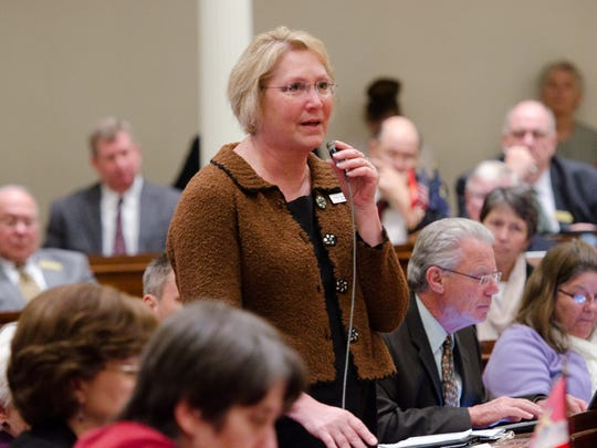 Rep. Carolyn Branagan, R-Franklin, asks a question about the proposed genetically modified organisms labeling bill before Wednesday's vote at the Statehouse. The House voted 114-30 to move forward a bill that could make Vermont the first state to require labeling of foods that contain GMOs.