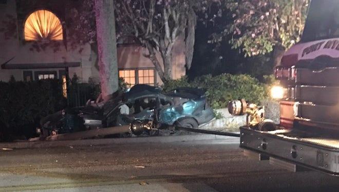 One person was killed in a fiery crash along McGregor Boulevard near Cordova Avenue.