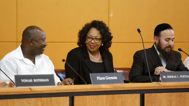Deborah Wortham is sworn in as the superintendent of the East Ramapo school district Thursday.