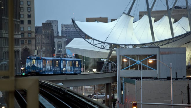 The Detroit People Mover pulls into the Rosa Parks transit station, Monday, Nov. 7, 2011.