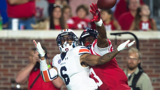"""Auburn junior cornerback Carlton Davis (6) announced his intention to declare for the NFL draft on Jan. 3, 2017 just days after being ruled inactive for the Peach Bowl due to what was called this weekend """"illness that didn't get better""""."""
