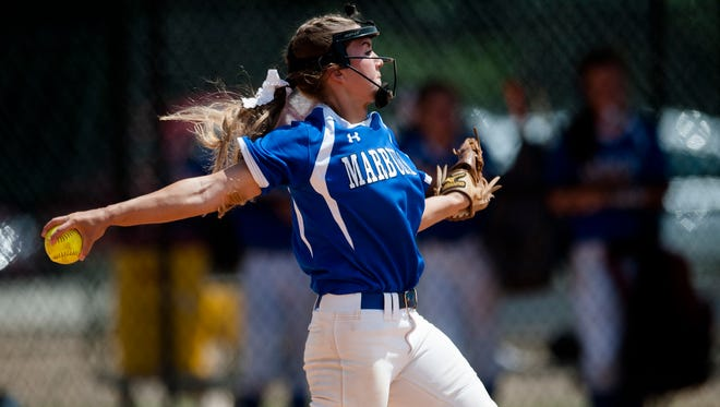 Marbury's Layton Murphy throws a pitch during the AHSAA State Softball Game on Friday, May 19, 2017 in Montgomery, Ala.