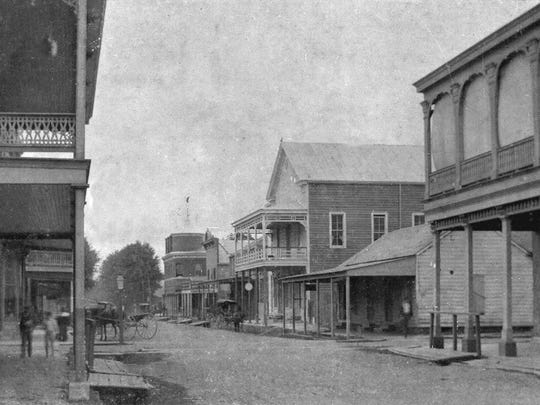 Main Street looking south from Bellevue street in downtown Opelousas during the 1890s.