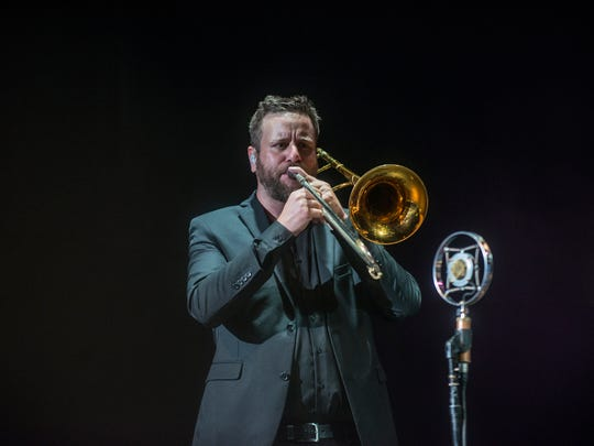 Chad Fisher of Deatsville plays trombone as St. Paul & The Broken Bones performs at Montgomery Performing Arts Centre on Friday, Sept. 29, 2017.