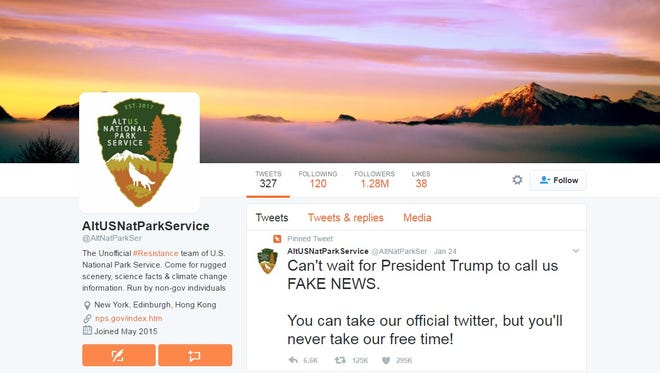 The handle @AltNatParkSer is one of the dozens of government-agency parody accounts that emerged this week.