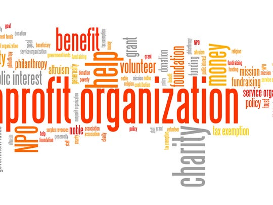 Nonprofit organizations issues and concepts word cloud illustration. Word collage concept. fundraisers