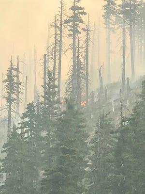 The Potato Hill Fire is burning near Santiam Pass just off U.S. Highway 20.