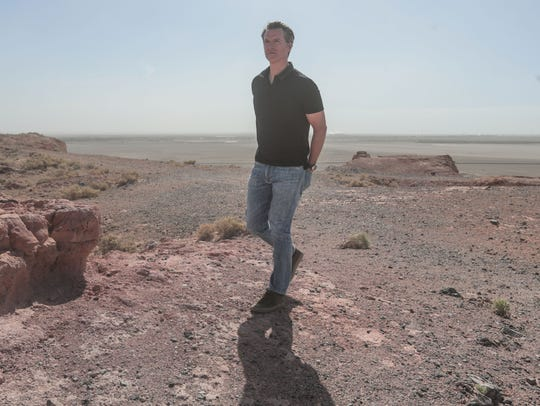 Gov. Gavin Newsom tours a section of the Salton Sea in Calipatria to get a better handle on the ecological, environmental, and public health challenges facing the region on Thursday, April 19, 2018.