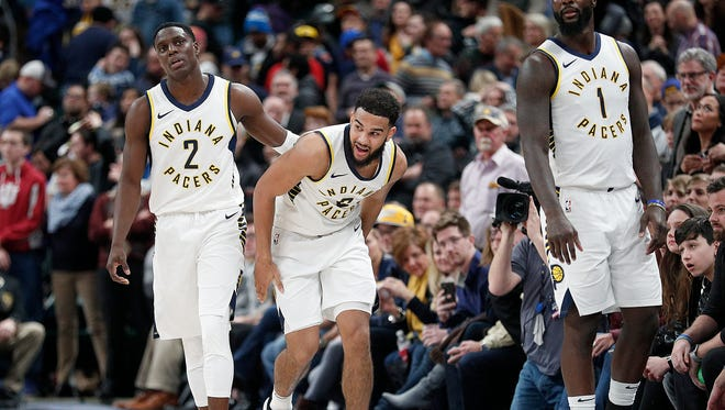 Exhausted Pacers Darren Collison (2), Cory Joseph (6) and Lance Stephenson (1) walk off the court following their game at Bankers Life Fieldhouse Wednesday, Dec. 27, 2017. The Dallas Mavericks defeated the Indiana Pacers 98-94.