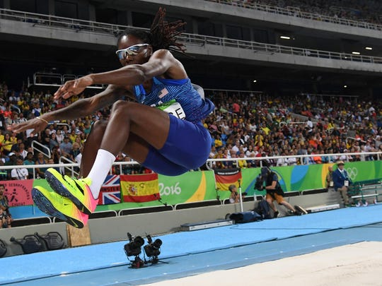Brittney Reese (USA) competes during the women's long jump qualifying round in track and field competition in the Rio 2016 Summer Olympic Games.