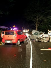 Oregon State Police and emergency vehicles responded a two-vehicle crash on Highway 18 near milepost 1.5, just east of Lincoln City.