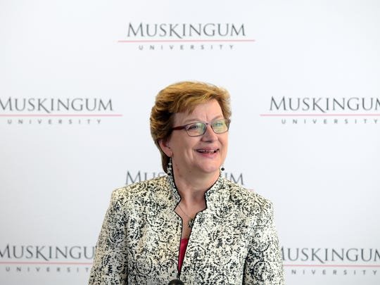 Dr. Susan Schneider Hasseler speaks to the media before being formally introduced as the 21st president of Muskingum University on Monday.