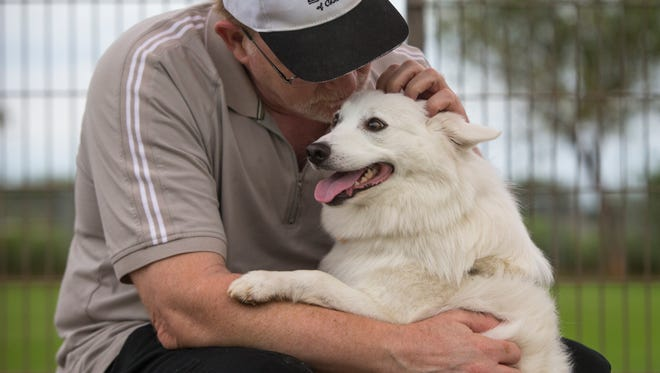 Maomao, a Japanese spitz, gets some attention from owner Bill Till at the popular Chaparral Dog Park in Scottsdale.