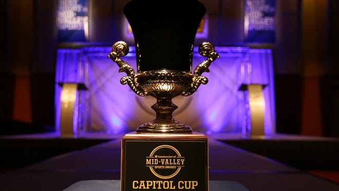 The Capitol Cup award on display during the Mid-Valley Sports Awards banquet on Tuesday, June 7, 2016, at the Salem Convention Center.
