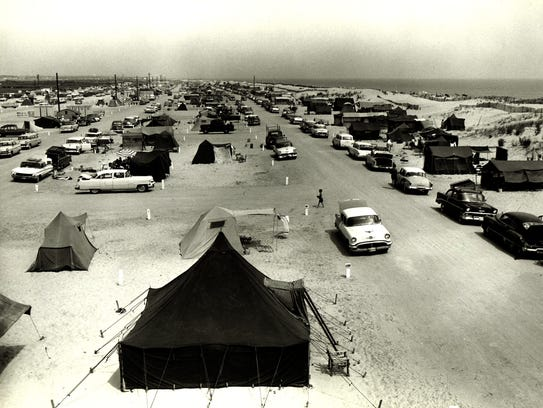 Camping at the old Key Box Campground in 1960.