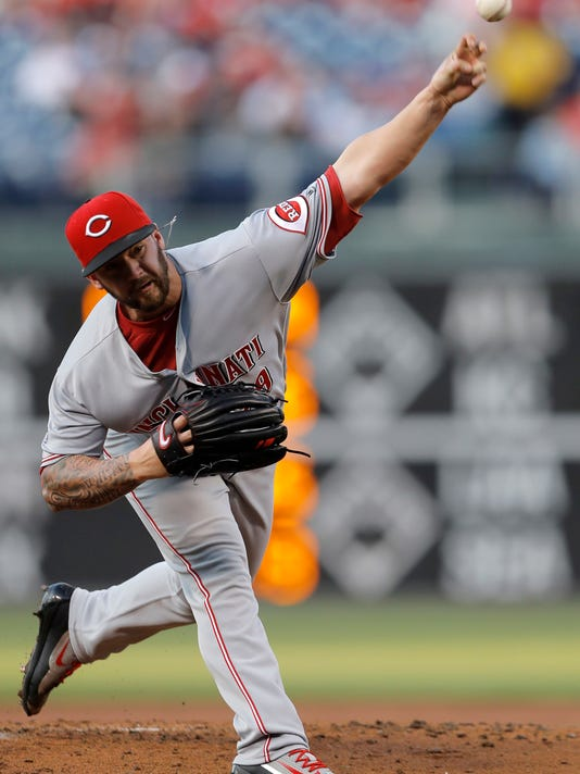 Cincinnati Reds' Brandon Finnegan pitches during the first inning of a baseball game against the Philadelphia Phillies, Friday, May 13, 2016, in Philadelphia. (AP Photo/Matt Slocum)