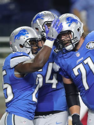 Detroit Lions' Theo Riddick celebrates his touchdown against the Philadelphia Eagles during the first half Sunday, Oct. 9, 2016 at Ford Field in Detroit.
