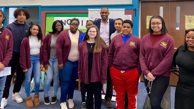 United States Representative Antonio Delgado poses with Ellenville High School students following a Black History Month workshop on Feb. 20.