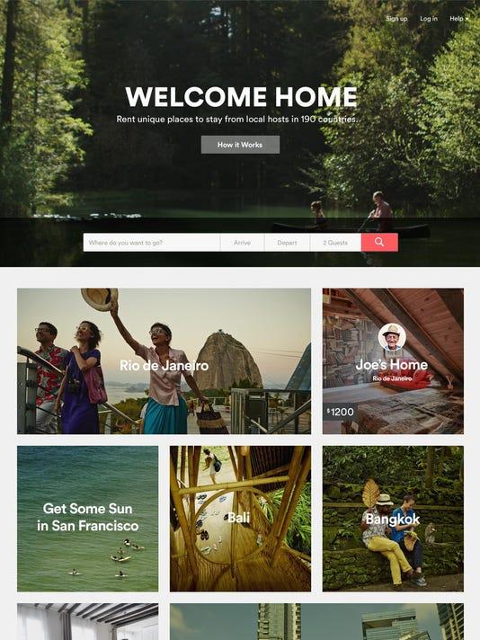 airbnb homepage