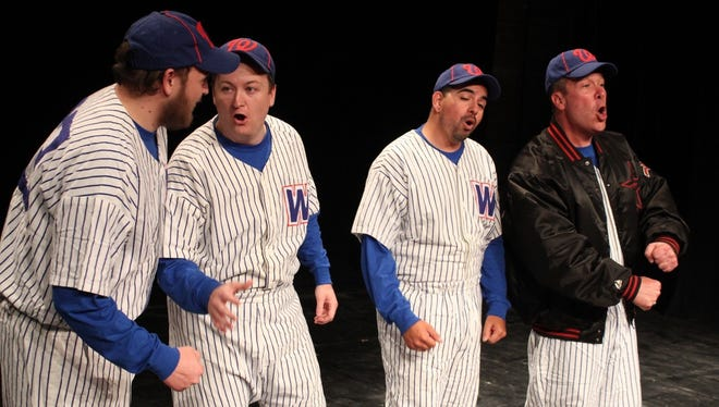 """Manager Benny Van Buren, played by James White, tries to convince his players, Chris Thorp, Ryan Thorp and Tony Calderon, that all they need is """"Heart"""" to defeat the rival New York Yankees."""