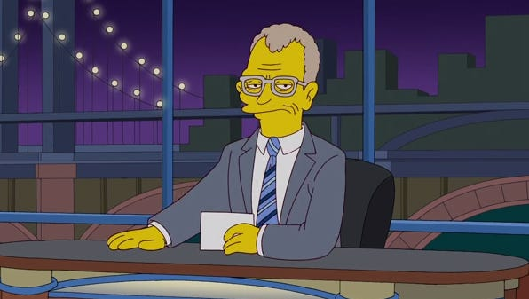 David Letterman, as pictured on 'The Simpsons'