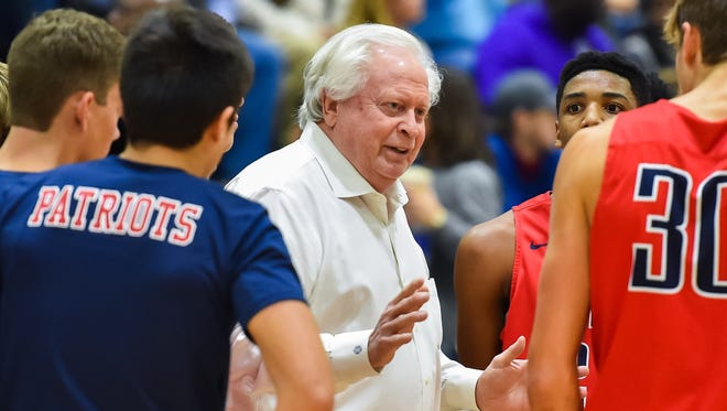MRA head coach Richard Duease coaches his team during the Patriots win over St. Andrews Thursday, November 9th, 2017 in Jackson, MS.(Bob Smith-For the Clarion Ledger)
