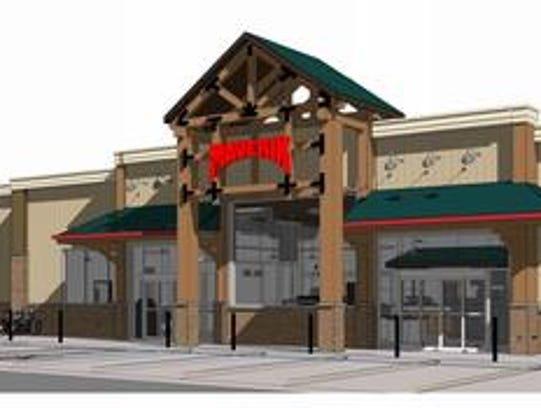 A rendering of the Maverik convenience store and gas