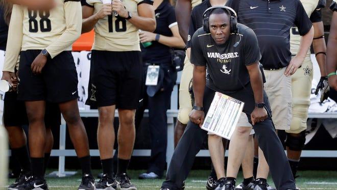 Vanderbilt head coach Derek Mason watches the action from the sideline in the second half of an NCAA college football game against Alabama A&M Saturday, Sept. 9, 2017, in Nashville, Tenn. Vanderbilt won 42-0. (AP Photo/Mark Humphrey)