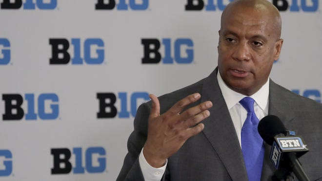 Minnesota Vikings chief operating officer Kevin Warren talks to reporters after being named Big Ten Conference Commissioner during a news conference Tuesday, June 4, 2019, in Rosemont.