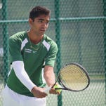 Sycamore's Deepak Indrakanti is ready to serve in the Division I sectional tournament May 14 at Mason.